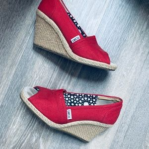 Tom's Red Wedges: The Perfect Summer Shoe 6 1/2